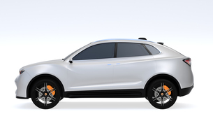 白背景にシルバー色の電動SUVのイメージの写真素材 [FYI04646645]