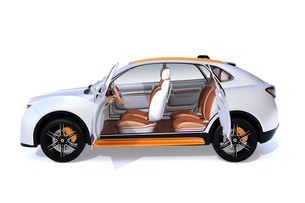 白背景にシルバー色の電動SUVのインテリアイメージの写真素材 [FYI04646648]