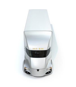 シルバー色の自動運転電動セミトラックの正面イメージの写真素材 [FYI04646656]