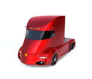 白バックにメタリックレッドの自動運転電動セミトラックの写真素材 [FYI04646663]