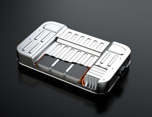 黒バックにカットモデルの電気自動車用バッテリーパックの写真素材 [FYI04646682]