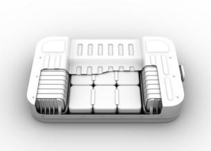 クレイレンダリングの電気自動車用バッテリーパックのカットモデルの写真素材 [FYI04646684]