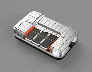 グレイバックに電気自動車用バッテリーパックのカットモデルの写真素材 [FYI04646690]