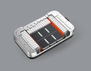 グレイバックに電気自動車用バッテリーパックのカットモデルの写真素材 [FYI04646691]