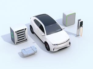EV使用済み電池再利用システム、車用電池のカットモデル、急速充電器と電動SUVのイメージの写真素材 [FYI04646712]