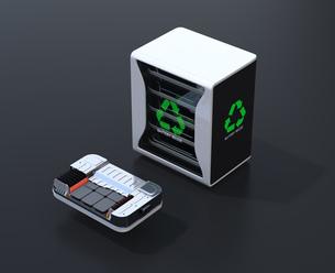黒バックにEV使用済み電池再利用システムと車用電池カットモデルのイメージの写真素材 [FYI04646720]