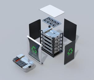 EV使用済みバッテリー再利用システムの分解立体図のイラスト素材 [FYI04646723]
