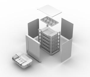 EV使用済みバッテリー再利用システムの分解立体図のクレイシェーディングイメージのイラスト素材 [FYI04646724]