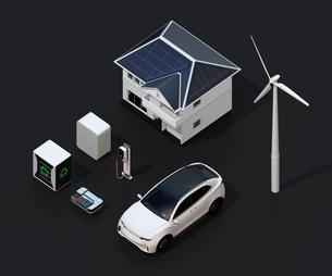 太陽光発電、風力発電、EV電池再利用、電気自動車及び充電設備の再生可能エネルギーのネットワークの写真素材 [FYI04646733]