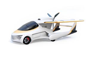 主翼が収納されていてクルマとして使うフライングカー(空飛ぶ車)のコンセプトイメージの写真素材 [FYI04646760]