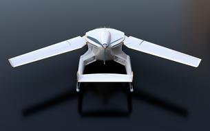 黒バックにフライングカー(空飛ぶ車)のコンセプトイメージの写真素材 [FYI04646767]