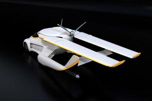 黒バックに主翼が収納されていてクルマとして使うフライングカー(空飛ぶ車)のコンセプトイメージの写真素材 [FYI04646769]