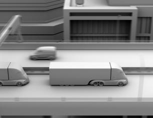 高速道路に縦列走行している電動トラックのクレイシェーディングイメージの写真素材 [FYI04646776]
