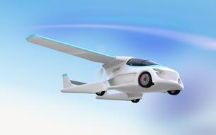 空を飛ぶフライングカー(空飛ぶ車)のコンセプトイメージの写真素材 [FYI04646781]