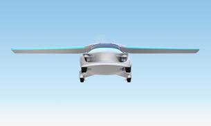 空を飛ぶフライングカー(空飛ぶ車)のコンセプトイメージの写真素材 [FYI04646782]