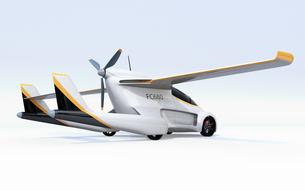 白バックに主翼が展開したフライングカー(空飛ぶ車)のコンセプトイメージの写真素材 [FYI04646784]