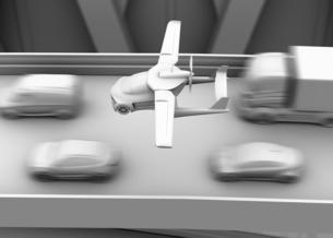 高速道路渋滞中の車列の上に通過するフライングカー(空飛ぶ車)のクレイレンダリングイメージの写真素材 [FYI04646789]