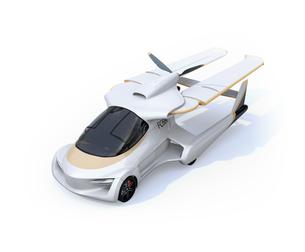 主翼が収納されていてクルマとして使うフライングカー(空飛ぶ車)のコンセプトイメージの写真素材 [FYI04646791]