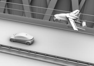 高速道路走行中の車の上空を通過するフライングカー(空飛ぶ車)のクレイレンダリングイメージの写真素材 [FYI04646801]