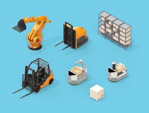 産業ロボット、AGV、フォークリフトのアイソメイメージ。工場自動化のコンセプトの写真素材 [FYI04646817]