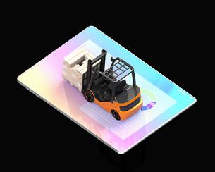 デジタルタブレットの上にある電動フォークリフトのアイソメイメージ。工場自動化のコンセプトの写真素材 [FYI04646823]