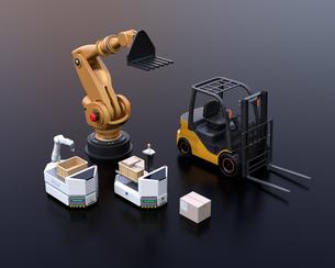 黒バックに産業ロボット、AGV、フォークリフトのメージ。工場自動化のコンセプトの写真素材 [FYI04646824]