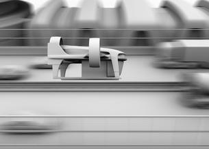 高速道路の横に飛行しているVTOL式配達ドローンのグレイシェーディングイメージの写真素材 [FYI04646847]