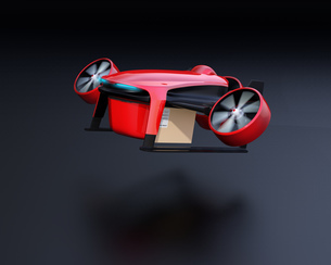 離陸している赤色の配達ドローンのイメージの写真素材 [FYI04646861]