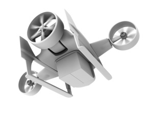 VTOL式配達ドローンの後方クレイシェーディングイメージ。超高速配達のコンセプト。の写真素材 [FYI04646863]