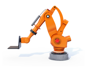 白バックにオレンジ色の大型産業用ロボットのイメージの写真素材 [FYI04646874]