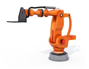 白バックにオレンジ色の大型産業用ロボットのイメージの写真素材 [FYI04646876]