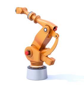 白バックにオレンジ色の大型産業用ロボットのイメージの写真素材 [FYI04646878]