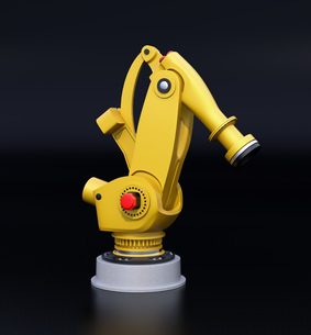 黒バックに黄色の大型産業用ロボットのイメージの写真素材 [FYI04646879]