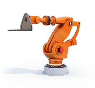 白バックにオレンジ色の大型産業用ロボットのイメージの写真素材 [FYI04646884]