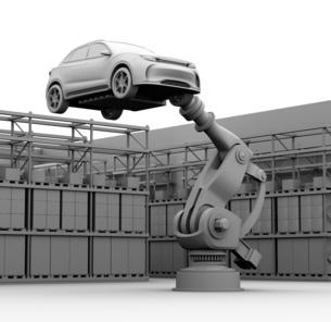 背景用クレイシェーディングのSUVを運搬する大型産業ロボットのイメージの写真素材 [FYI04646887]