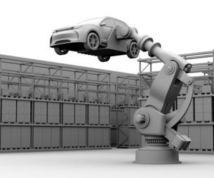 背景用クレイシェーディングのSUVを運搬する大型産業ロボットのイメージの写真素材 [FYI04646891]