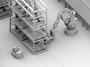 ラックからクルマシートをコンベアに運ぶ大型産業ロボットのクレイシェーディングイメージの写真素材 [FYI04646892]