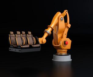 黒バックに自動車用シートを運搬する大型産業ロボットのイメージの写真素材 [FYI04646894]
