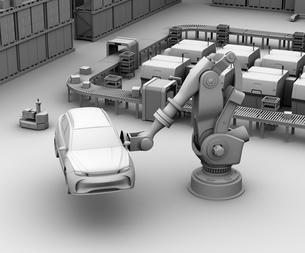 背景用クレイシェーディングのSUVを運搬する大型産業ロボットのイメージの写真素材 [FYI04646895]