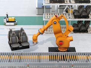 ラックからクルマシートをコンベアに運ぶ大型産業ロボット。スマート工場のコンセプトの写真素材 [FYI04646897]