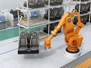 ラックからクルマシートをコンベアに運ぶ大型産業ロボット。スマート工場のコンセプトの写真素材 [FYI04646899]