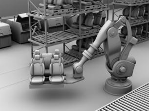 ラックからクルマシートをコンベアに運ぶ大型産業ロボットのクレイシェーディングイメージの写真素材 [FYI04646900]