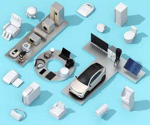 青背景にIoT文字に配置されたスマート家電と電気自動車。暮らしにあるモノのインタネットコンセプトの写真素材 [FYI04646903]