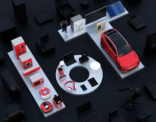 黒背景にIoT文字に配置されたスマート家電と電気自動車。暮らしにあるモノのインタネットコンセプトの写真素材 [FYI04646908]