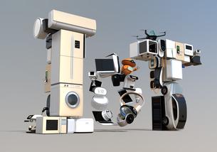 スマート家電と電気自動車で表現したIoT文字。暮らしにあるモノのインタネットコンセプトの写真素材 [FYI04646912]