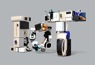 スマート家電と電気自動車で表現したIoT文字。暮らしにあるモノのインタネットコンセプトの写真素材 [FYI04646913]