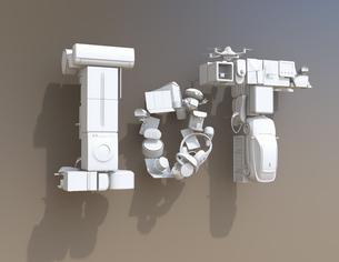 白一色スマート家電とEVで表現したIoT文字。暮らしにあるモノのインタネットコンセプトの写真素材 [FYI04646916]
