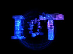 X線撮影のような質感を用いてスマート家電とEVで表現したIoT文字の写真素材 [FYI04646918]