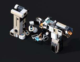 スマート家電と電気自動車で表現したIoT文字。アイソメ図。暮らしにあるモノのインタネットコンセプトの写真素材 [FYI04646919]