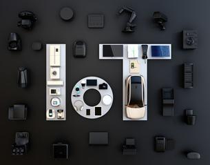 黒背景にIoT文字に配置されたスマート家電と電気自動車。暮らしにあるモノのインタネットコンセプトの写真素材 [FYI04646921]